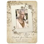 ​Personalized vintage lace floral photo in memoriam card (in memory of card) front