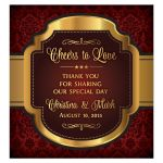 Regal vintage label burgundy and gold Cheers to Love personalized wedding wine label