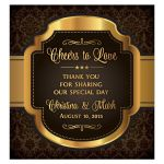 Regal vintage brown and gold Cheers to Love personalized wedding wine label