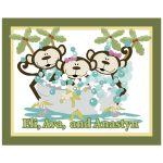 3 Monkeys in Tub Children's Bathroom Art
