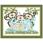 Boy, Girl, Boy Monkey in Tub Bathroom Art Print