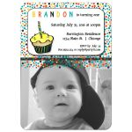 Colorful Polka Dots Milestone First Birthday Party Invitation