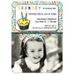 Colorful Polka Dots Second Birthday Fun Party Invitation