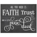 8x10 Faux Chalkboard Wall Art featuring typography that reads: Faith Trust and a Little Pixie Dust