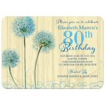 80th birthday party invitations - vintage cream (yellow) and blue floral front