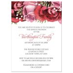 Family Reunion Invitations - Burgundy Red Pink Rose