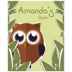 8x10 Cute Owl With Customizable Name Children's Room Wall Art