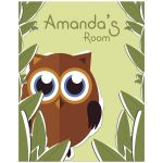 11x14 Cute Owl With Customizable Name Children's Room Wall Art