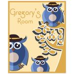 8x10 Cute Tree Owls With Customizable Name Children's Room Wall Art