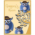 11x14 Cute Tree Owls With Customizable Name Children's Room Wall Art
