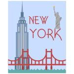 Retro Inspired 8x10 Wall Art Illustration of New York City