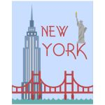 Retro Inspired 11x14 Wall Art Illustration of New York City