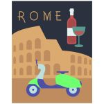 Retro Inspired 11x14 Wall Art Illustration of Rome Italy