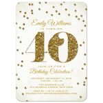 Gold Glitter Look Confetti 40th Birthday Party Invitations front