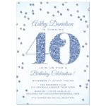 Blue Glitter Look Confetti 40th Birthday Party Invitations front