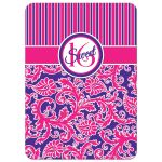 Sweet 16 birthday party invitation in pink and purple striped damask