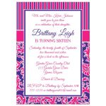 Fuchsia and purple sweet sixteen birthday party invitation