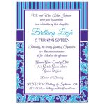 Turquoise blue and purple sweet sixteen birthday party invitation