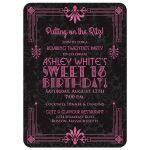 ​Black and hot pink roaring 20s (roaring twenties) art deco style sweet 16 birthday invitation front