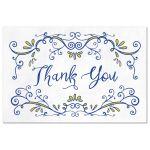 ​Royal blue and yellow whimsical vintage flourish thank you postcard front