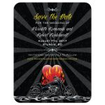Save the Date Card - Grunge Beams Motorcycle Biker Burning Love