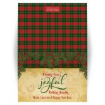 Red, green tartan plaid, pine boughs and holly berries Christmas greeting card