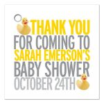 Favor Tag - Yellow Rubber Ducky Baby Shower Thank You