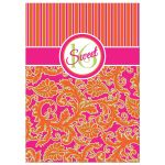 Sweet 16 birthday party invitation in pink, orange, lime green striped damask