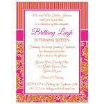 Fuchsia pink, orange, and lime green sweet sixteen birthday party invite