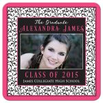Chic and trendy hot pink, black, and white floral pattern photo graduation invitation front