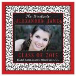 Chic and trendy red, black, and white floral pattern photo graduation invitation front