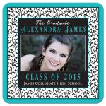 Chic and trendy turquoise, black, and white floral damask pattern photo graduation invitation front