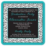 Chic and trendy turquoise, black, and white floral damask pattern photo graduation invitation back