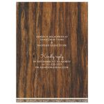 Rustic ivory lace and wood trendy bridal shower invitation back