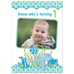 Under the sea, ocean themed photo boy's 1st birthday party invitation front