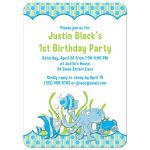 Under the sea, ocean themed photo boy's 1st birthday party invitation back
