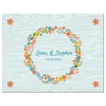 Wedding RSVP Reply Card - Rustic Blue Wood Grain Floral Wreath
