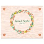 Wedding RSVP Reply Card - Rustic Peach Wood Grain Floral Wreath