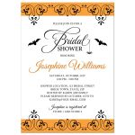 Elegant black and orange Halloween bridal shower invitation with bats and cute little spider