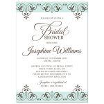 Pale sea blue and brown ornate lace border bridal shower invitation