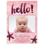 Watercolor Starfish Hello Photo Birth Announcements front