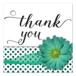 Teal Mum With Sparkly Glitter Polka Dots Thank You Gift Tag