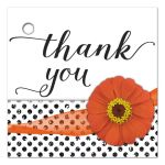 Orange Zinnia With Sparkly Gray Glitter Polka Dots Thank You Gift Tag