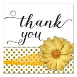 Yellow Mum With Sparkly Glitter Polka Dots Thank You Gift Tag
