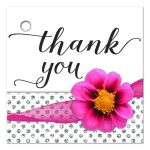 Hot Pink Flower With Sparkly Glitter Polka Dots Thank You Gift Tag