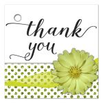 Mint Green Flower With Sparkly Glitter Polka Dots Thank You Gift Tag