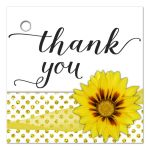 Yellow Flower With Sparkly Glitter Polka Dots Thank You Gift Tag