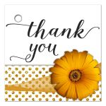 Gold Flower With Sparkly Glitter Polka Dots Thank You Gift Tag