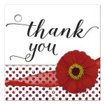 Red Zinnia With Sparkly Glitter Polka Dots Thank You Gift Tag