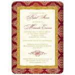 Red, ivory and gold damask bridal shower invitation with gold glitter and scroll